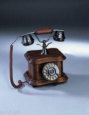 2060 TELEFONO IN LEGNO E OTTONE DA APPOGGIO VINTAGE ANTICO A DISCO