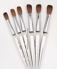 Acrylic Nail Brush Manicure Powder - Petal Kolinsky Silver Handle (Crimped)