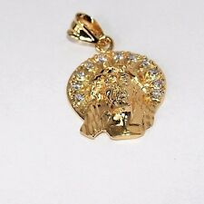 14k Gold plated Clear CZ  Head of Jesus  Pendant Lifetime Warranty USA made