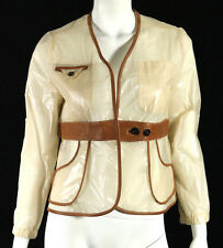 MARNI Cream Wax Paper Effect Silk Cognac Leather Trim Jacket 44