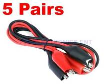5 Pairs Dual Red & Black Test Leads with Alligator Clips Jumper Cable 16GA Wire