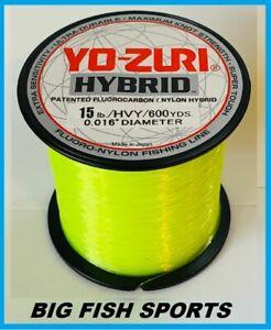 YO-ZURI HYBRID Fluorocarbon Fishing Line 15lb/600yd HIVIS NEW! FREE USA SHIP!