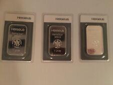 Silberbarren, 3x 1 Unze, 999,9 Heraeus, Feinsilber