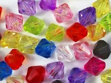 100 Faceted Acrylic Bicone Beads 10mm - Mixed Colours