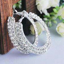 Women Bridal 2 Row Crystal Silver Plated Diamante Rhinestone Hoop Round Earrings
