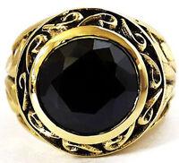 BIG BLACK ONYX CARVED GOLD BRASS BISHOP MENS RING