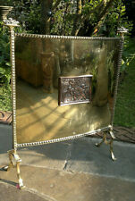 c1880 Antique Victorian Brass Fire Screen with Copper Cupids Plaque