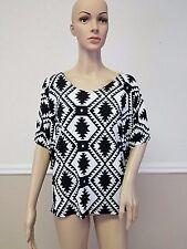 Toto Collection Womens XL Top Black White Geometric Print Blouse Kimono Sleeve