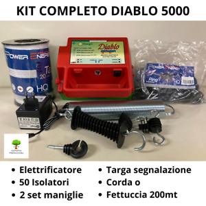 KIT RECINTO ELETTRIFICATO DIABLO 5000 + CORDA/BANDA 200m ISOLATORI SET MANIGLIE