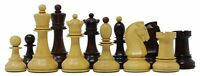 """Reproduction 1950 Dubrovnik 3.75"""" Vintage Chess Set Box wood & Mahogany Stained"""