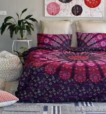 Pink Purple Mandala Duvet Quilt Doona Cover Indian Comforter Bedding Set Queen