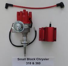 CHRYSLER 318 & 360 RED Small Female Cap HEI Distributor + 50,000 volt Coil - NEW