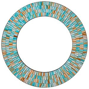 "Handcrafted Decorative Mosaic 24"" Round Wall Mirror,  Sea Blue, Turquoise"