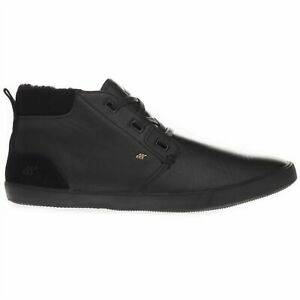 Boxfresh Men's Skelt Fur Leather/Suede Mid Top Casual Black Trainers Shoes