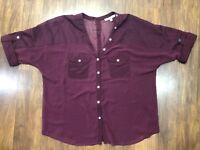 Maroon Short Sleeve Shirt Black Rainn Sz S Button Front Back Semi Sheer Blouse