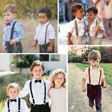 Baby Toddler Kids Adjustable Suspender and Bow Tie Set Tuxedo Wedding Props MP