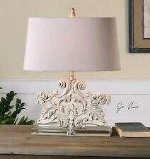 NEW CRYSTAL BASE STONE IVORY WASH TABLE LAMP OLD WORLD CARVED STYLE LIGHT TUSCAN