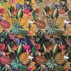 Jungle Exotic Wonderland Wallpaper Holden Black Plum Gold Ochre Birds Animals