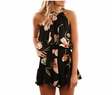 Womens 2pcs Co-ord Set Crop Top&short Playsuit Halter Neck Jumpsuit Floral Dress White 6