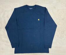Carhartt Wip Chase Long Sleeve Navy T Shirt Heavyweight Ship World