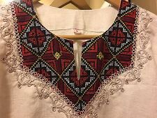 Women Moroccan Long Dress With Embroidery , Beige , Size M/L