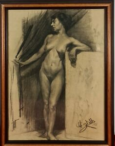 NUDE OF A WOMAN. SIGNED M. CASTELLS. CHARCOAL DRAWING ON PAPER. 1911.