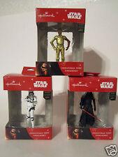 Hallmark 2015 Star Wars DARTH VADER STORMTROOPER & C-3PO Set of 3 Ornaments NEW