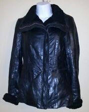 Ted Baker Amelia Black Leather Jacket with Shearling Trim, Size 1