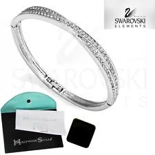 Platinum Plated Crossover Bangle with Crystals from Swarovski® & 2 Bonus Extras
