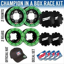 "DWT Green Champion in a Box 10"" Front 9"" Rear Rims Beadlock Rings KFX450R"