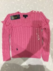 Ralph Lauren Girl's  Long-Sleeve 100% Cotton Pink Cable Jumper ( 6Years)