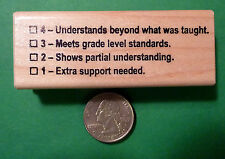 Understands 4321 Rubric - Teacher's Wood Mounted Rubber Stamp