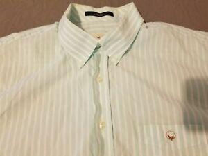 Mens Cotton Brothers Dress Shirt XL Green Stripes Button Cotton