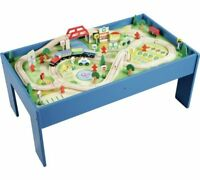 Chad Valley Wooden Table and 90 Piece Train Great Toy For Little Train Fans Set