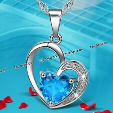 Silver 925 Heart Necklace Deep Blue Ocean Crystal Pendant Xmas Gifts for Her TU1