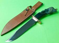 RARE Unique Custom Hand Made Carved Buffalo Horn Jesus Armendariz Bowie Knife