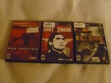 PLAYSTATION 2 GAME LOT JUST CAUSE RED FACTION KILLZONE COMPLETE W MANUALS PS2 >>
