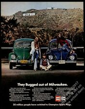 1972 VW Beetle classic green and blur car Hollywood sign photo Champion print ad