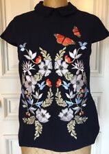 Ted Baker London Enora Kyoto Gardens Embroidered Top, Mid Blue Size 3-USA 8