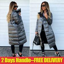Womens Quilted Padded Puffer Parka Bubble Coat Winter Warm Long Trench Overcoat