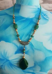Green Glass Natural Beaded Mixed beads Statement Drop Pendant Necklace Costume