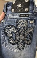 Miss Me Womens Straight Leg Jeans Fleur De Lis Destroyed Stretch Blue Sz 25x31