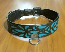 Custom Hand Tooled Leather Dog Collar w/ Turquoise, J.W. Flame Buckles, Any Size