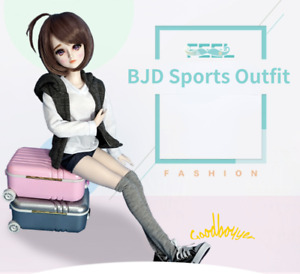 1/3SD BJD Outfit Doll Clothes Sports Suit Hooded Vest+T-shirt+Shorts+Stockings