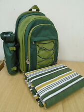 Vonshef 2 Person Picnic Backpack- Green With Picnic Blanket C187