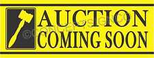 3'X8' AUCTION COMING SOON BANNER Outdoor Sign LARGE Auto Storage Equipment Sales