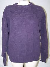 STRUCTURE Purple Solid Print Cotton Long Sleeve Pullover Sweater Medium 6 8