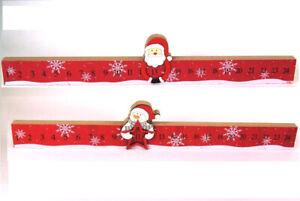 Christmas Advent Calendar Snowman Santa Wooden countdown Plaque Father Xmas Red