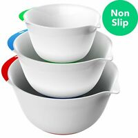 Vremi 3 Piece Plastic Mixing Bowl Set - Nesting Mixing Bowls with Rubber Grip