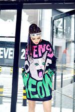 Urgency Meow Cat Long T-Shirt Dress Kawaii Harajuku Hip Hop  - LTD0004